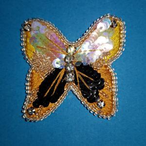 Papillon jaune et noir brodé
