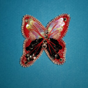 Papillon rouge et noir brodé