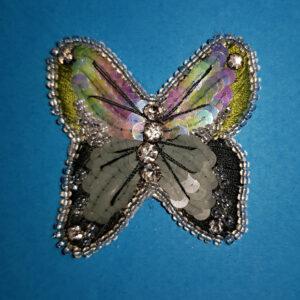 Papillon vert brodé