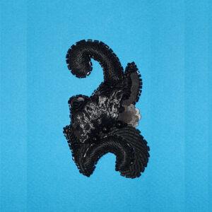 petite palme noire Organza de soie brodé de paillettes