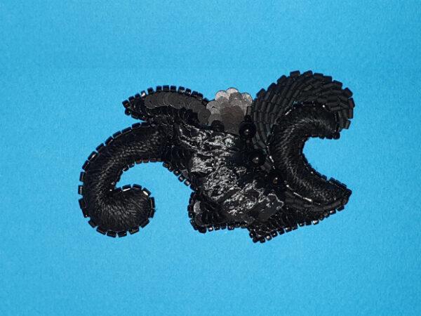 petite palme noire Organza de soie et paillettes