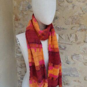 écharpe Damas laine ose, jaune-orangé, rouille, bordeaux, pourpre et orange